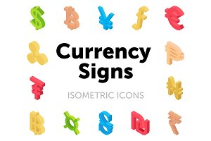 50 Currency Signs Isometric Icons