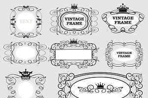 Vector frames, vintage, set