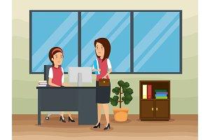 businesswomen in the office strategy