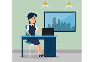 businesswoman with laptop in the