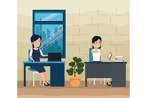 businesswomen teamwork with data