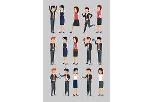 set businesswomen and businessmen