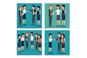 set businesspeople teamwork strategy