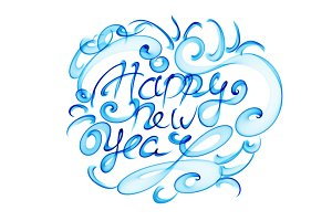 Happy new year isolated words