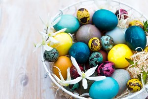 Different Easter Eggs dyed in