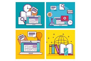 set laptop technology with elearning