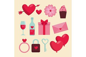 set happy valentine day celebration