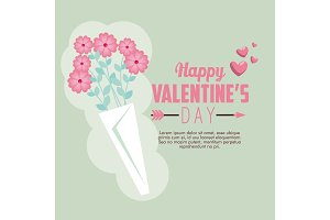 happy valentine card with hearts and