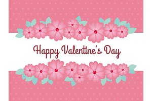 happy valentine day with flowers and