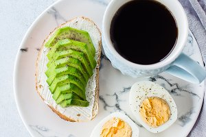 Toast with avocado, egg and coffee
