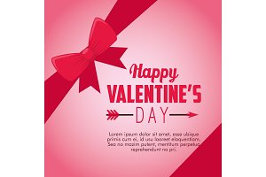 happy valentine day card with ribbon