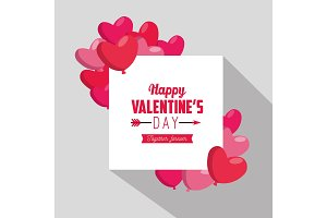 happy valentine card with hearts