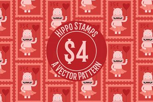 Hippo Stamp Seamless Pattern