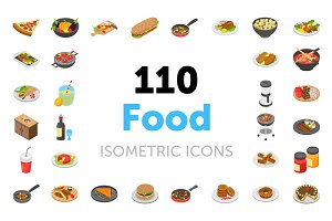 110 Food Isometric Vector Icons