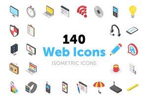140 Web Isometric Vector Icons
