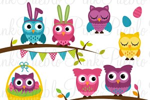 Spring Easter Owl Clipart & Vectors