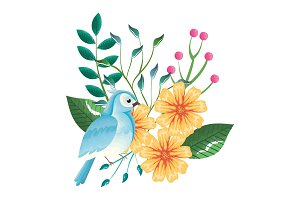 floral decoration and bird vintage