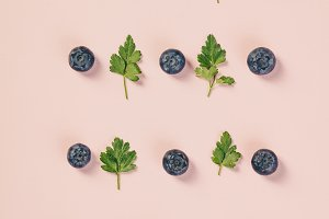 Pattern of blueberry and parsley lea