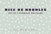 Rice vs Noodles seamless patterns