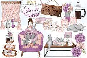 Cats and Coffee clipart set