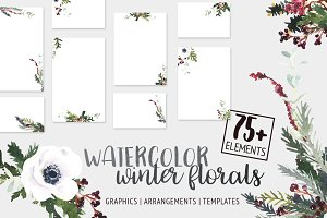 Watercolor Winter Florals