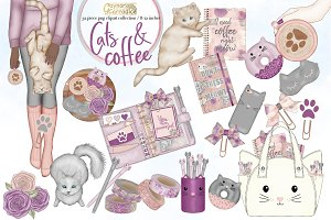 Cats and Coffee planner clipart