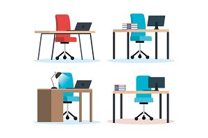office workplaces scenes icons