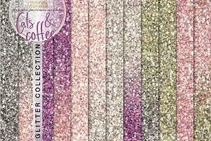 Cats and Coffee seamless glitter