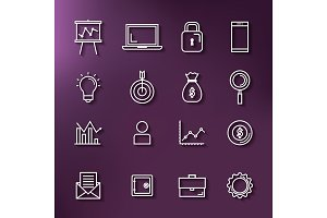 business and finance set icons