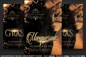 Masquerade Mardi Gras Party Flyer