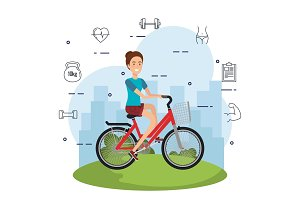 woman in bicycle with healthy
