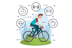 man in bicycle with healthy