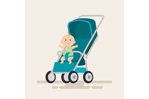 little baby in cart character