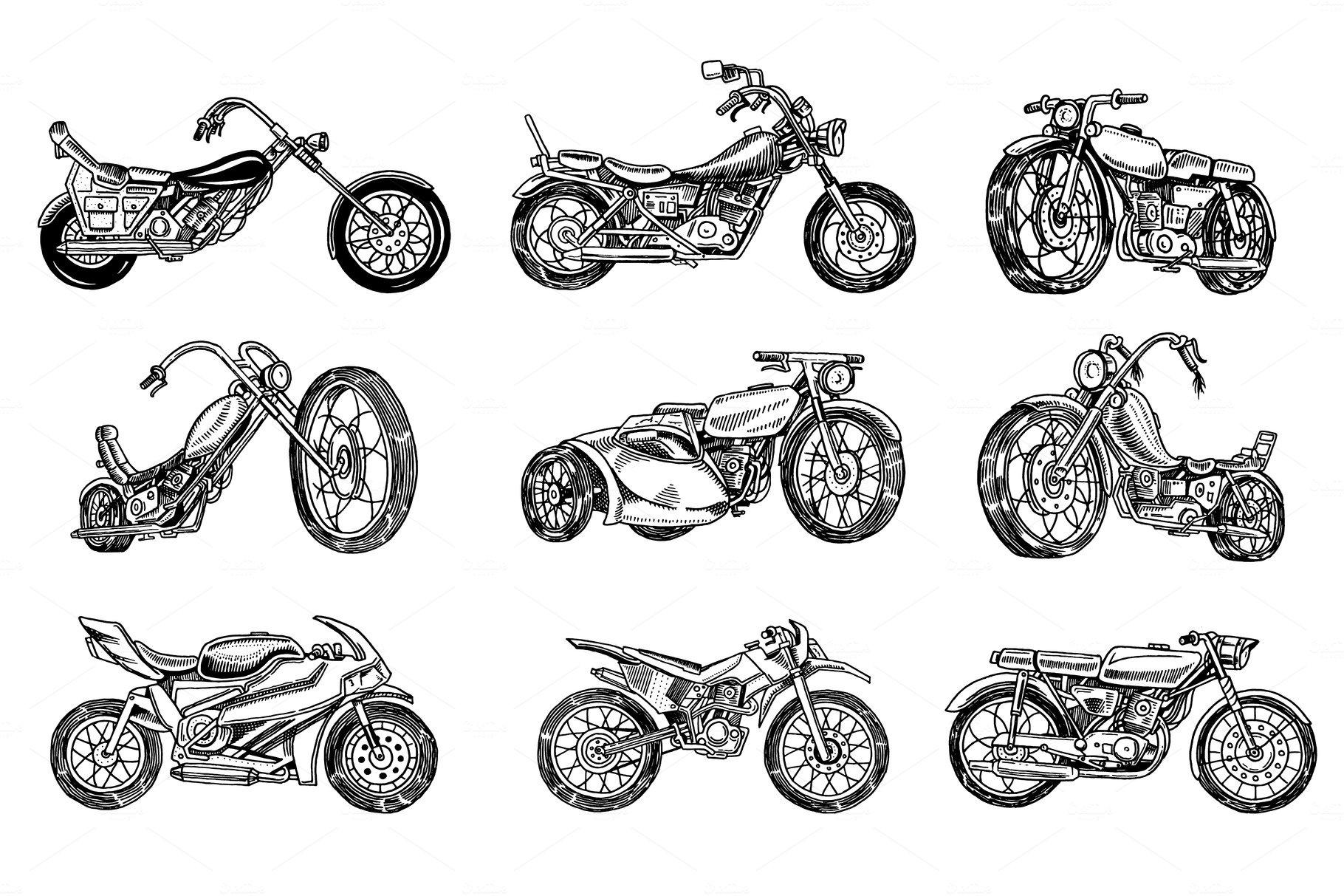 Set of Vintage motorcycles