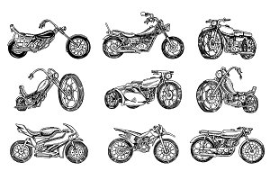 Set of Vintage motorcycles