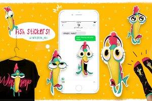Cartoon fish set - stickers & prints