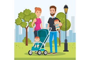 cute family happy in the park