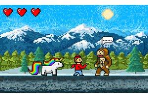Game scene. Pixel art 8 bit