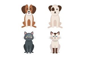 group of cute pets