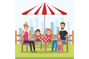 cute family happy in the picnic day