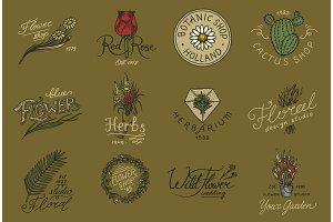 Flower shop emblems and logo