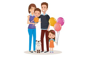 cute family happy and pet characters