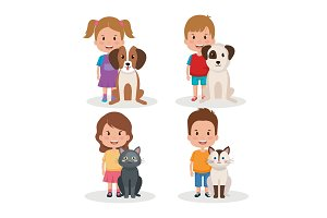 group of kids with pets little