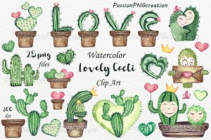 Watercolor lovely Cacti ClipArt