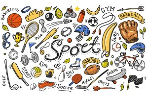 Set of sport icons doodle