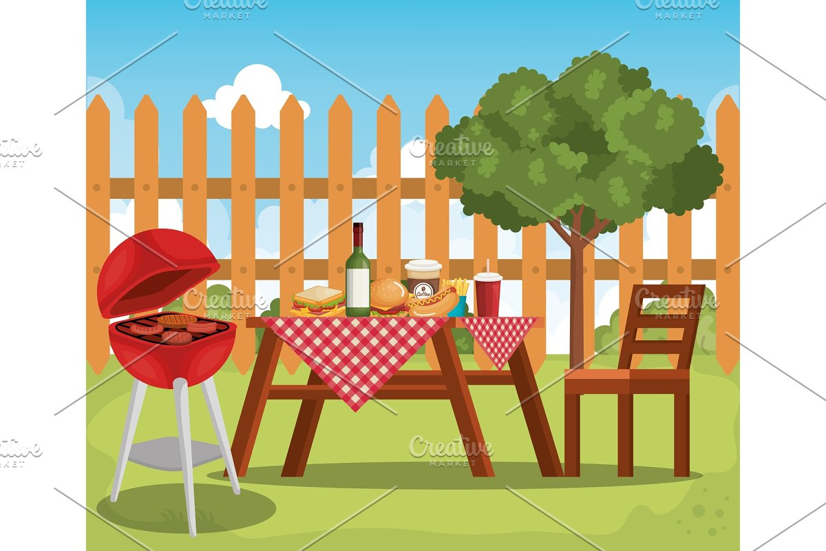 picnic table with tableclothes scene