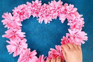 Heart shaped wreath decorated artifi
