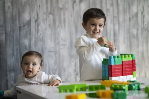 Two happy baby playing with toy bloc