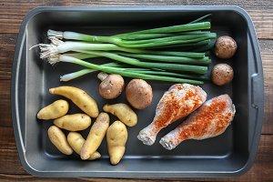 Chicken, potatoes, scallions...