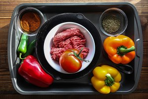 Ground beef, with peppers and other